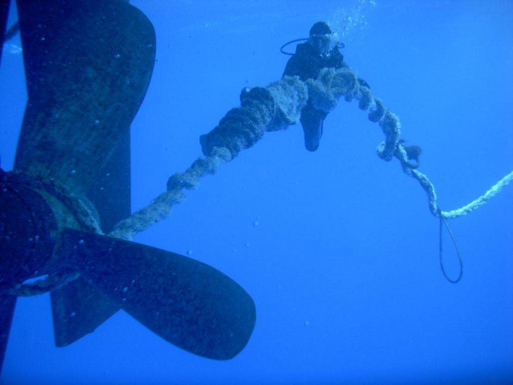 Propeller Tangled in Plastic